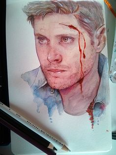 Fan art - Dean. I'm really impressed with this<<and the mix between coloured pencils and watercolour. I love it.
