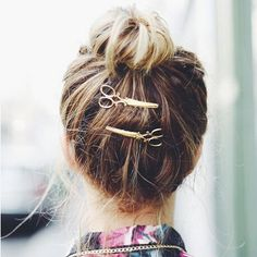 H115 Fashion Retro Memory Interest Scissors  Gold Plating Barrettes Hair Accessory Jewelry Wholesale HY