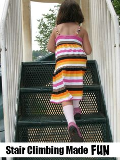 Stair Climbing Made Fun - A fun game to help those little ones learning to climb the stairs. Used by a physical therapist! Gross Motor Activities, Gross Motor Skills, Therapy Activities, Infant Activities, Physical Therapy Exercises, Pediatric Occupational Therapy, Physical Therapist, Therapy Tools, Therapy Ideas