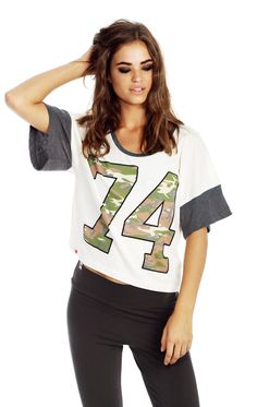 The Wildfox Foxercise 74 Pop Workout Crop Tee