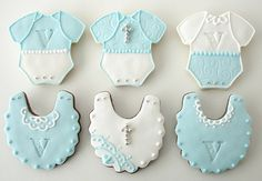 Baptism cookies by L sweets Baby Boy Cookies, Onesie Cookies, Baby Shower Cookies, Cupcake Cookies, Cupcakes, Christening Cookies, Baby Boy Christening, Shower Bebe, Baby Boy Shower