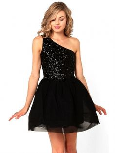 Ballgown One Shoulder Short/Mini Tulle Black Homecoming Dress With Sequin