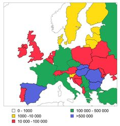 Romani population size in different European countries