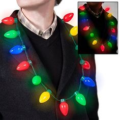 Flashing Christmas Bulb Necklace For Adults Or Kids By Bl...