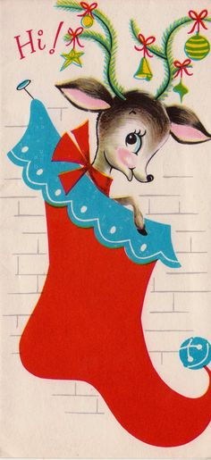 Vintage  Hi Deer Stocking Christmas  Card