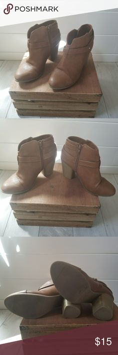 Brown Zip Up Ankle Boots Great condition. Only worn a few times. Downsizing my wardrobe because I'm moving. LC Lauren Conrad Shoes Ankle Boots & Booties