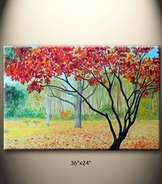 golden Autumn trees foliage red maple tree 36x24 large by maggyart