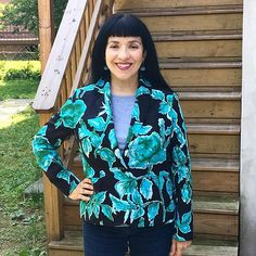 Beautiful pattern matching on this Jasika Blazer! Blazer Pattern, Pattern Matching, Beautiful Patterns, Emerald Green, Sewing Ideas, Overalls, Blouse, How To Make, Instagram