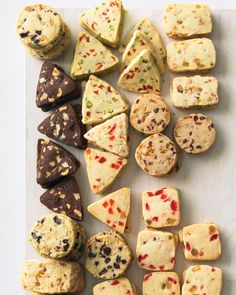 Try one of our shaped icebox-cookie variations:Almond-Cherry Coins Apricot-Pistachio Triangles Almond and Candied Orange Zest Bars White Chocolate, Hazelnut, and Cherry Triangles Papaya, Macadamia, and Coconut Triangles Cranberry-Orange Coins Chocolate, Walnut, and Cranberry Coins Candied-Fruit Squares Almond and Ginger Bars