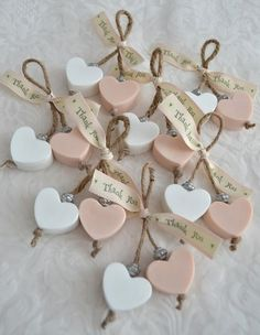 Heart-shaped soaps as wedding favors! Rustic wedding favors, pink and white wedd… Heart-shaped soaps as wedding favors! Rustic wedding favors, pink and white wedding favors, diy wedding favor ideas, soap wedding favor ideas. Wedding Favors And Gifts, Rustic Wedding Favors, Wedding Tokens, Craft Wedding, Wedding Bands, Soap On A Rope, Pink And White Weddings, Wedding White, Trendy Wedding