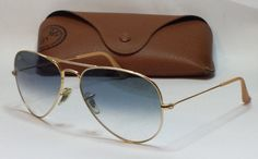 Ray-Ban RB3025 #aviator LARGE METAL Men's sunglasses Italy Gold BLue with CASE visit our ebay store at  http://stores.ebay.com/esquirestore