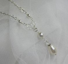 Bridal Necklace Pearl and Swarovski Crystal Necklace by JamJewels1
