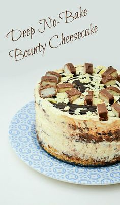 Deep No-Bake Bounty Coconut Cheesecake made in 40 minutes and super easy. Light and creamy with flavour of coconut and chocolate. Topped with more melted chocolate and generous slices of Mars Bounty bars.