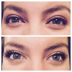 Check out this awesome before and after. Younique 3d fiber lash mascara on the bottom. #eyes