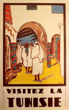 Visit Tunisia Tunisie, 1950s - original vintage poster listed on AntikBar.co.uk