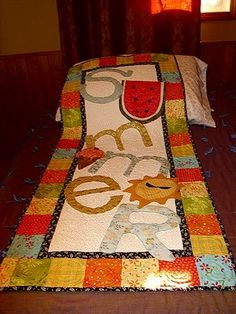 Love this table runner. DIY on how she created this...very creative lady! teddertodders.blogspot.com