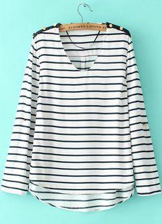 White V Neck Long Sleeve Striped T-Shirt 17.00