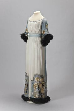 Sequin and Fur Trimmed Edwardian Gown, ca. 1910