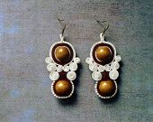 Soutache earrings  Party wedding earrings bridal bridesmaid jewelry Hand embroidered earrings Winter Spring White brown beaded earrings