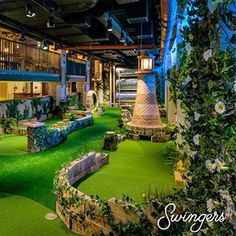 Swingers combines crazy golf, street food, cocktails and great service into an incredible social experience at two stunning venues in the heart of London. Crazy Golf London, Best Bars London, Best Clubs In London, Indoor Miniature Golf, Golf Bar, Best Cocktail Bars, Golf Photography, Golf Tips For Beginners, London Places