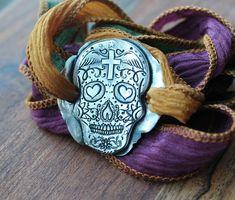 Sugar skull fine silver bracelet-wrap bracelet-hand dyed silk ribbon Silver Charms, Sterling Silver Necklaces, Silver Jewelry, Dyed Silk, Wrap Bracelets, Silk Ribbon, Sugar Skull, Handmade Silver, Pure Products