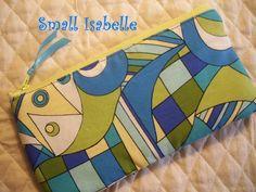 Blue & Green Geometric Cosmetic Bag, Makeup Bag, Zippered Pouch