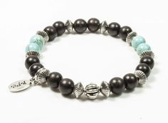 Bracelet créateur Bois d'Ebène marron et Howlite turquoise