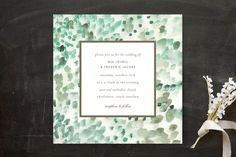 """""""Painted"""" - Abstract, Modern Wedding Invitations in Sea Glass by Sara Hicks Malone."""