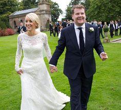 James Corden and Julia Carey wedding. love that dress!