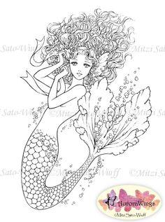 Instant Download Digital Stamp Mermaid digistamp by AuroraWings. So beautiful!