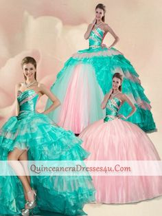 Discount Delicate Beading and Ruffles Quinceanera Gowns in Multi-color For 2015 ZHQD013A