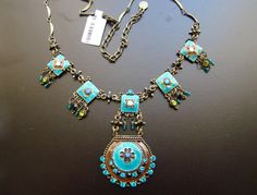 Vintage Necklace Blue Zircon Rhinestone 31I027 by rosebankgarden, $59.00