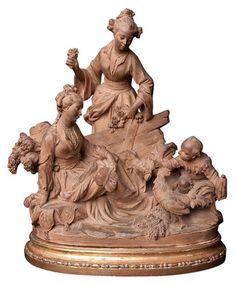 French terra cotta sculpture 19th century chinoisserie.