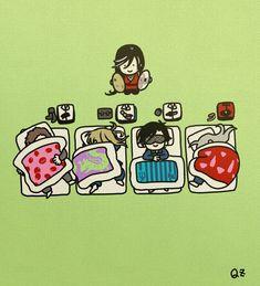 【刀剣乱舞】眠る長船太刀を鍋シンバルで起こそうと構える兼さん : とうらぶnews【刀剣乱舞まとめ】 Nikkari Aoe, Touken Ranbu, Anime, Character Design, Snoopy, Fan Art, Twitter, Mario, Drawings