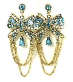 Amazon.com: Betsey Johnson Jewelry Iconic Heart And Bow Chain Earrings New 2013: Jewelry