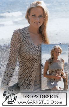 Crochet Cardigan and top. The top would be cute to extend into a dress with a solid bottom, as the top is crocheted. So the torso would be the only part with an open design.