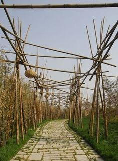 China Bamboo garden products, bamboo poles, bamboo furnitures,custom structures