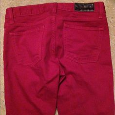 Madison On Park red woman pants size waist 28 Madison On Park red woman pants size waist 28 inseam 30 button fly nice like new Madison park Jeans Straight Leg
