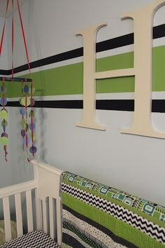 =nursery, light blue, navy, apple green with a little red color scheme