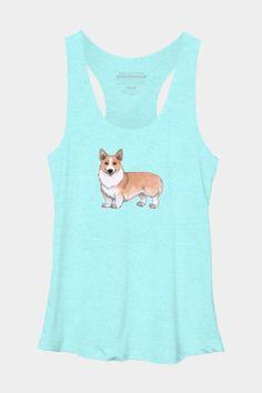 Welsh Corgi dog Women's Tri-blend Racerback by on DBH (various colours) Corgi Clothes, Corgi Dog, Back To School Outfits, Tank Man, Long Sleeve Tees, Colours, Art Prints, Cats, Animals