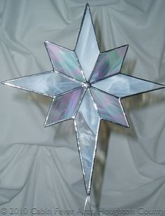 Stained Glass WHITE CHRISTMAS STAR Tree Topper 11.5 x 9