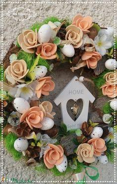 Házikó a barackfán tavaszi ajtódísz (fabkata) - Meska.hu Succulents, Floral Wreath, Wreaths, Plants, Home Decor, Floral Crown, Decoration Home, Door Wreaths, Room Decor