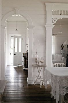.Original wooden floors married to a whole lot of white lovely.