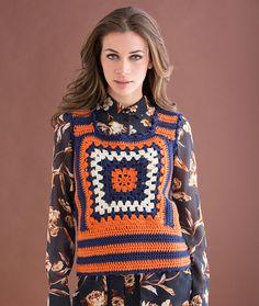 Single Square Granny Vest Free Crochet Pattern in Red Heart Yarns