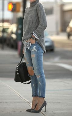 Herbst-Look mit Destroyed Jeans