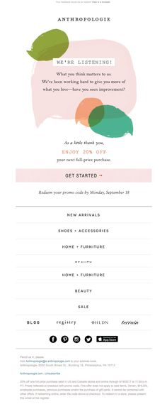 anthropologie sent this email with the subject line just a friendly reminder to complete - fortnite survey email