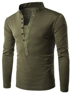 Long Sleeve Grandad Collar Button T Shirt - Army Green - L