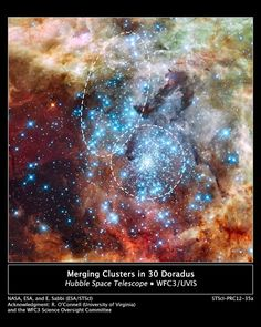 Hubble Watches Star Clusters on a Collision Course | Astronomers using data from NASA's Hubble Space Telescope have caught two clusters full of massive stars that may be in the early stages of merging. The 30 Doradus Nebula is 170,000 light-years from Earth. What at first was thought to be only one cluster in the core of the massive star-forming region 30 Doradus has been found to be a composite of two clusters that differ in age by about one million years.