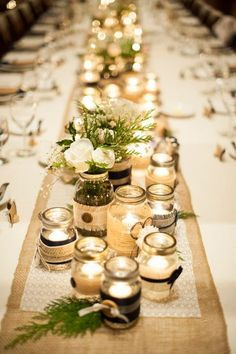 Military winter wedding, Devils thumb ranch, DIY, table center pieces, mason jars, candles, assorted sizes, romantic, warm lighting