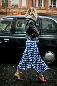 more like this ♡ Mix of patterns and textures, love that skirt or gauchos, whatever they are.